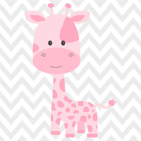 baby announcement card: Cute pink giraffe vector Illustration
