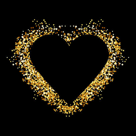 Gold glitter heart sign sparkles isolated on white background. Gold sparkles and glitter vector illustration. Design for wedding card, valentine.