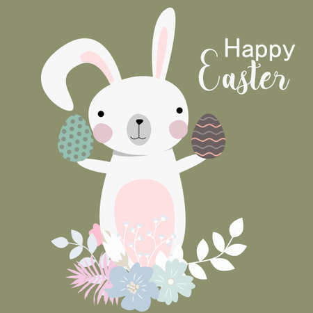 Vector cartoon style easter bunny greeting card illustration