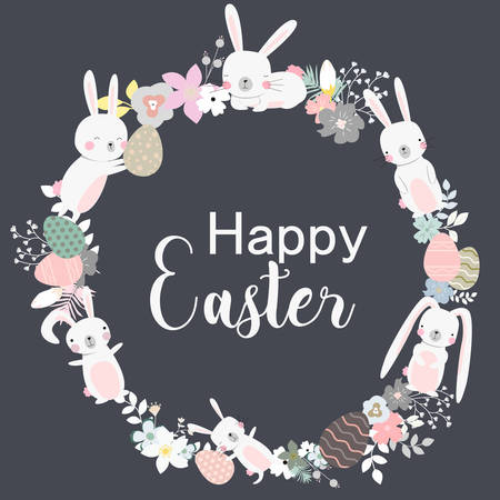 Easter Wreath vector illustration with flowers bunnies and eggs