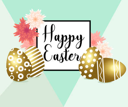 Happy Easter egg with flowers, ribbon. Happy easter template with gold ribbon and eggs,