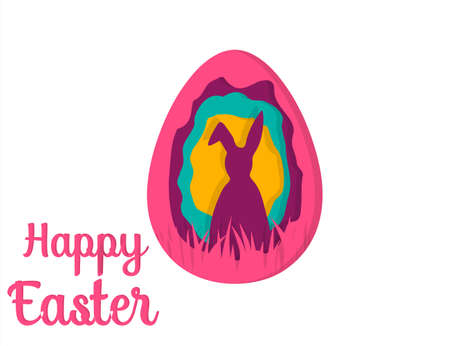 Greeting card with Happy Easter . Easter Bunny. Easter Egg paper art