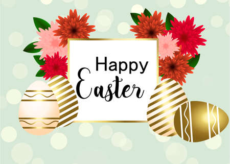 Happy Easter egg with flowers, ribbon. Happy easter template with gold ribbon and eggs