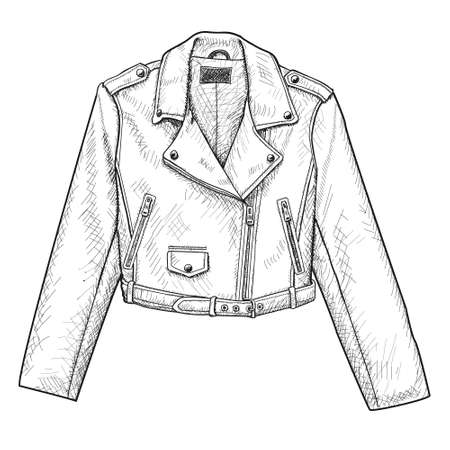 Hand drawn vector illustration. Creative black contour art work. Ink fashion illustration. Vector illustration leather jacket. Hand drawn leather jacket. Isolated leather jacket.
