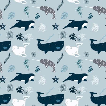 Patrón transparente de vector con ballenas Textura repetida con mamíferos marinos.