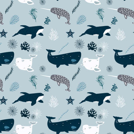 Vector seamless pattern with whales. Repeated texture with marine mammals. Ilustração