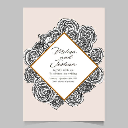 Greeting Card made of Hand Drawn Flowers Roses. Monochrome Botanical Vintage Vector Illustration. Blooming