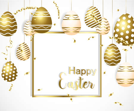 Happy easter template with gold ribbon and eggs, frame