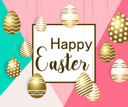 Easter vector illustration with calligraphic greeting