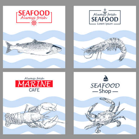 Seafood vintage design template.