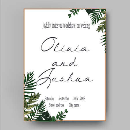 Vector wedding invite invitation, save the date floral card design