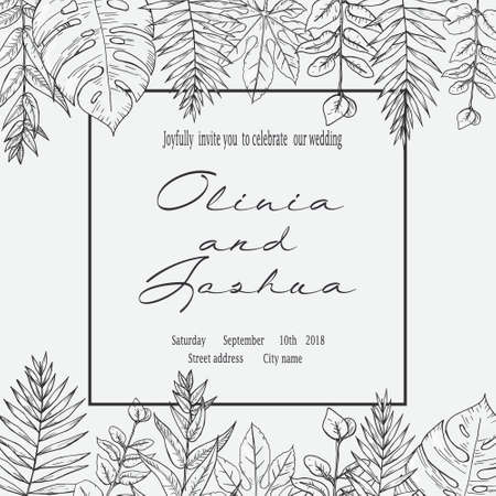 Banner with herbs, leaves and ferns. Frame with a leafy bouquet. Floral design elements. Vector illustration. Vintage style. Ilustrace