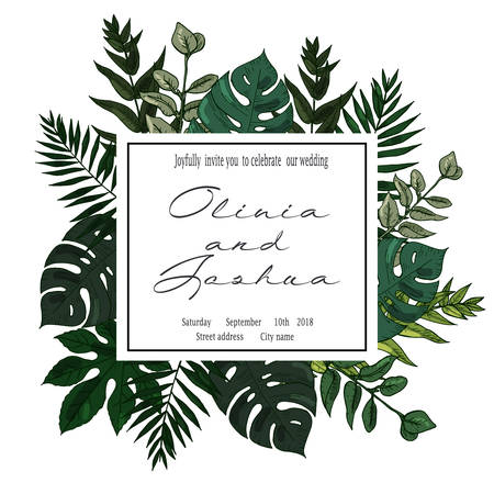 Wedding Invitation, floral invite card Design with green tropical forest palm tree leaves,