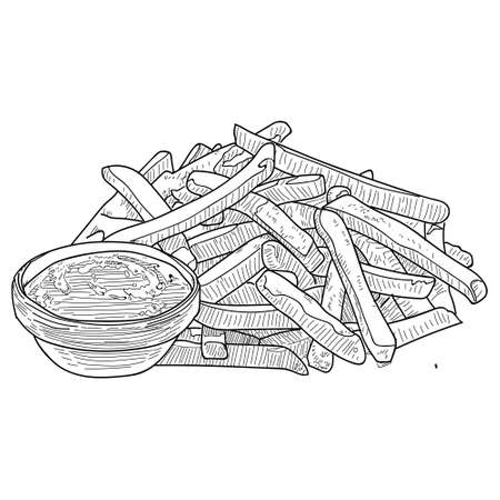 French Fries sketch, hand drawn fast food vector illustration. French fries in the package and in bulk. Outline sketch. Black lines.