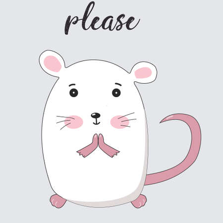 cute little mouse vector illustration please white Illustration