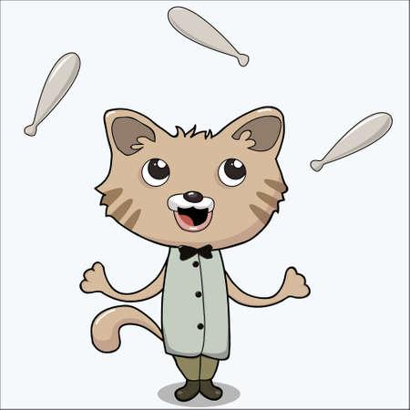 Vector Illustration of a Cute Cat Clown Juggler . Cartoon Character Illustration
