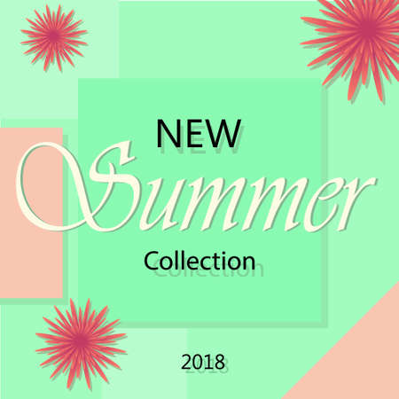 Summer fashion shopping banner template, vector illustration