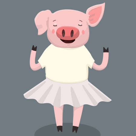 Vector illustration of cute pig cartoon isolated background