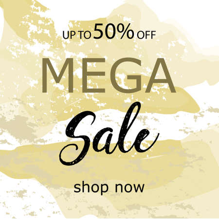 Sale today 30 off sign over art brush acrylic stroke paint abstract texture background vector illustration. Perfect watercolor design for a shop and sale banners.