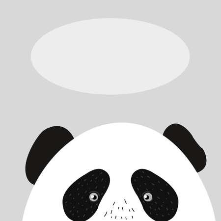 Panda vector logo illustration. Panda's head. Smiling animal face. Bamboo bear chinese bear logotype. Cute picture. 일러스트
