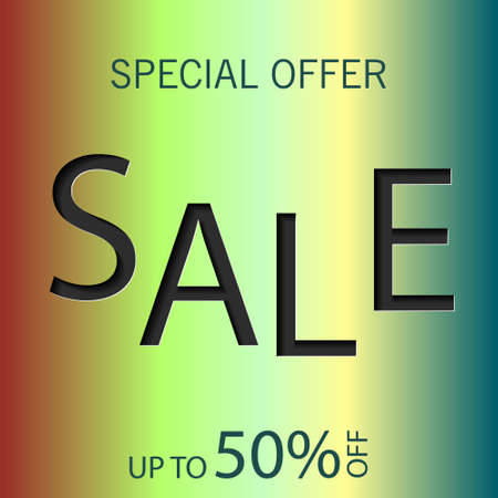 Sale Banner, End of Season, special offer, poster design template, vector illustration gradient