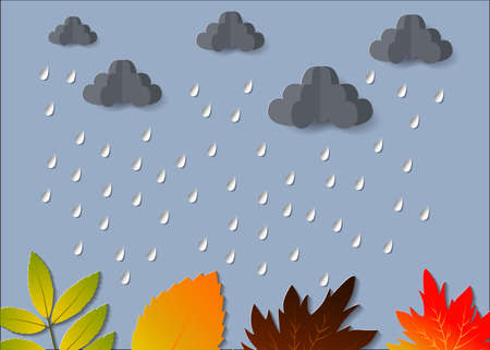 The Concept is Rainy season umbrella in the air with cloud and rain paper cut style. vector design element illustration