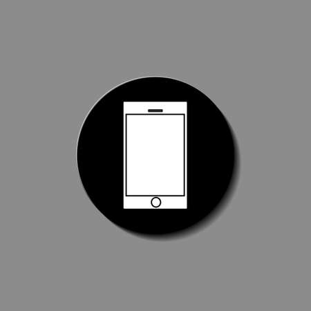 Black smartphone with blank touch screen isolated on white background. Illustration vector.