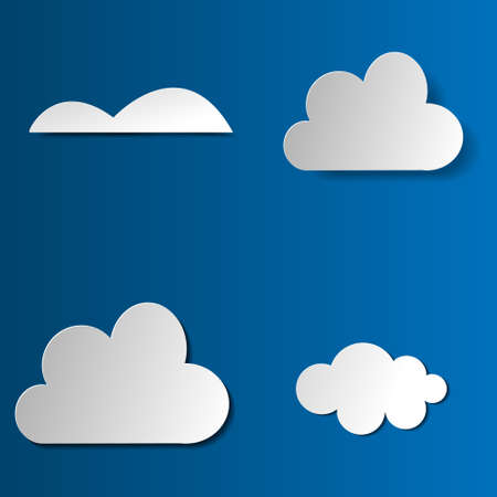 Vector paper clouds illustration set objects insparation