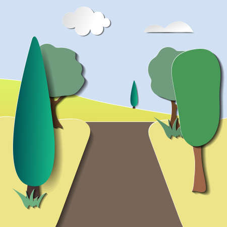 Road trip with car in autumn season and natural pastel color scheme background paper cut style vector illustration
