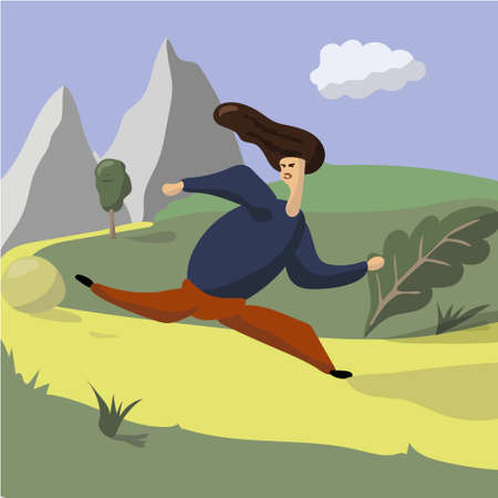 Running in city park. Woman runner outside jogging in park. Vector flat illustration