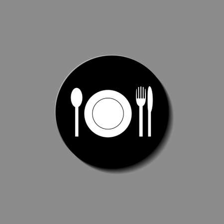 Plate, fork and knife icon illustration vector Ilustração