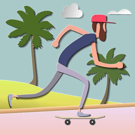 Skateboarder vector illustration paper cut illustration nature