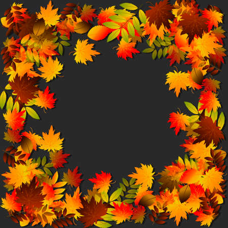 Vector background with red, orange, brown and yellow falling autumn leaves illustration Ilustração
