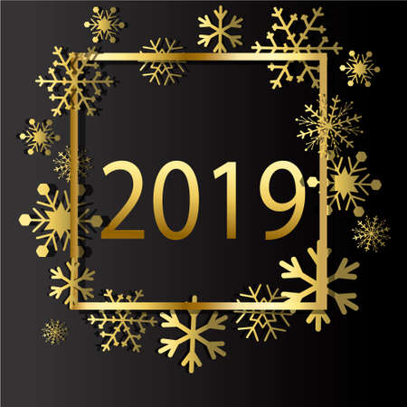 2019 Happy New Year Background for your Seasonal Flyers and Greetings Card or Christmas themed invitations Фото со стока - 105444833