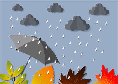 Hojas de corte de papel de otoño. Hola otoño. Plantilla de volante de septiembre. Marco de cueva en capas de círculo. Espacio para texto. Follaje de origami. Arce, roble. Cartel de otoño. Fondo azul. Vector