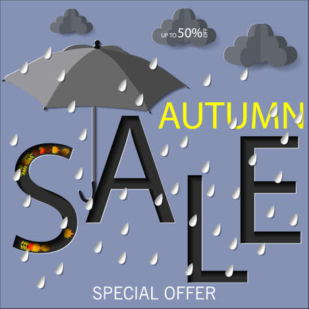 Autumn sale text vector banner with colorful seasonal fall leaves in orange background for shopping discount promotion. Vector illustration.