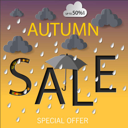 Autumn Sale Vector illustration rain cloud design