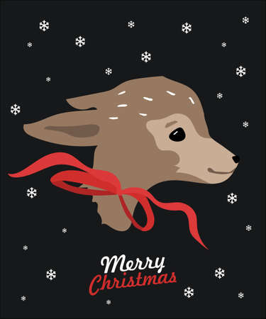 Holiday deer, Merry Christmas and New Year typographical on background with winter landscape with snowflakes, light, stars. Xmas card.