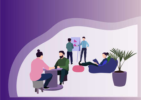 People In Creative Office Co-working Center University Campus Modern Workplace Interior Flat Vector