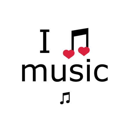 i love music, font type with signs, stickers and