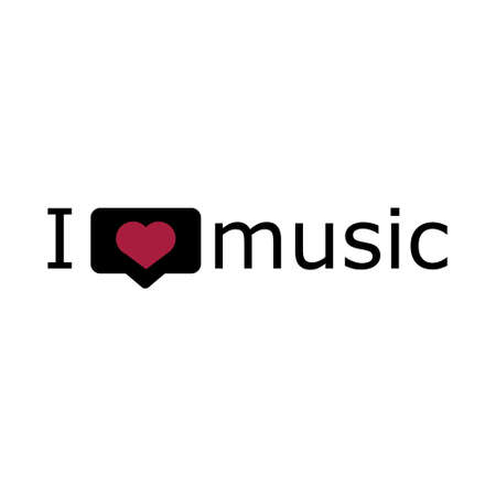 i love music, font type with signs, stickers and tags
