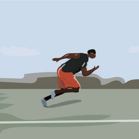 Runner vector silhouette, side view. Sprinting athlete Ilustracja