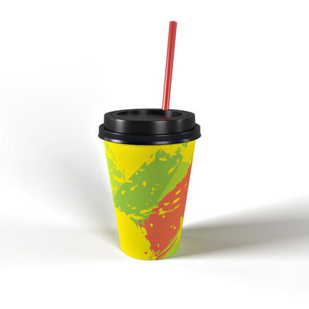 Isolated raster paper cup for hot drinks with shadow and white background, 3D rendering