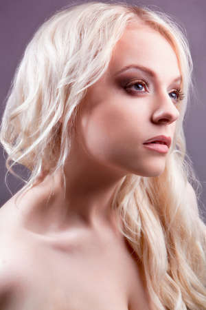 Young beautiful blond woman with stylish make-up  blond  Stock Photo