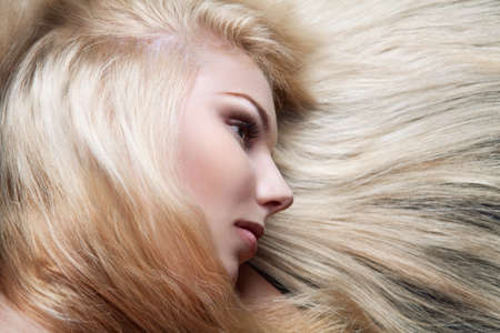 beautiful girl with long blond hair and stylish make-up  blond Stock Photo