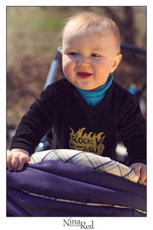 Adorable gorgeous baby laughing, portrait, outdoor Stock Photo