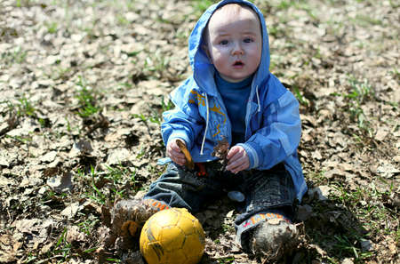 Cute baby outdoors. little boy. Stock Photo