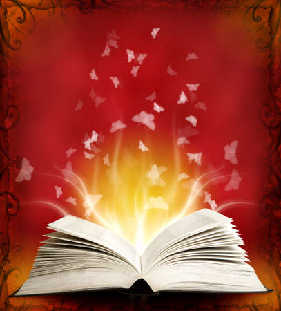 Opened magic book with magic light and buttefly. Education