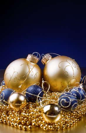 Beautiful christmas decorations . gold