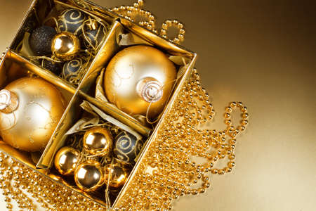 Christmas still life on gold background. card